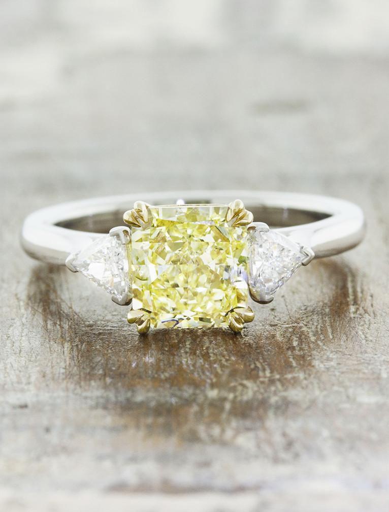 Square three-stone yellow diamond ring