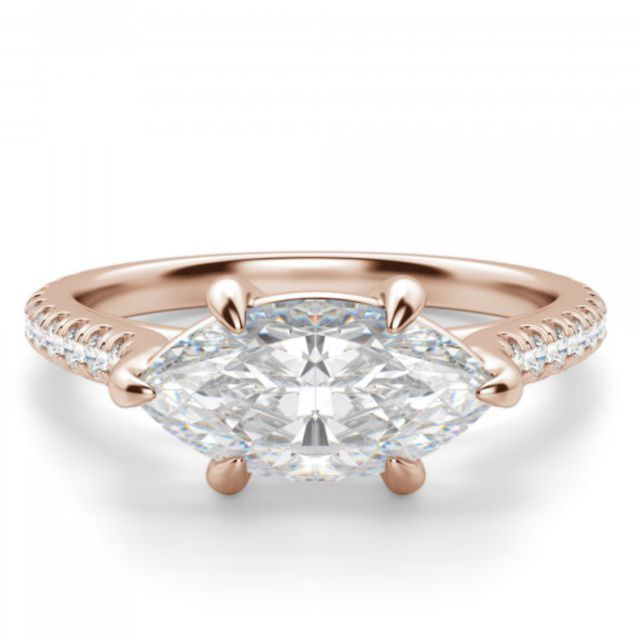 Diamond Nexus East-West Accented Marquise-Cut Engagement Ring