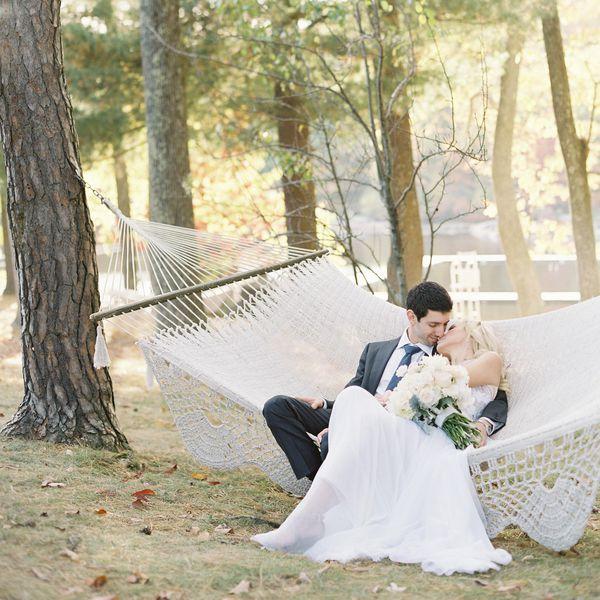 Urban-Inspired Camp Wedding Couple Sitting On Hammock
