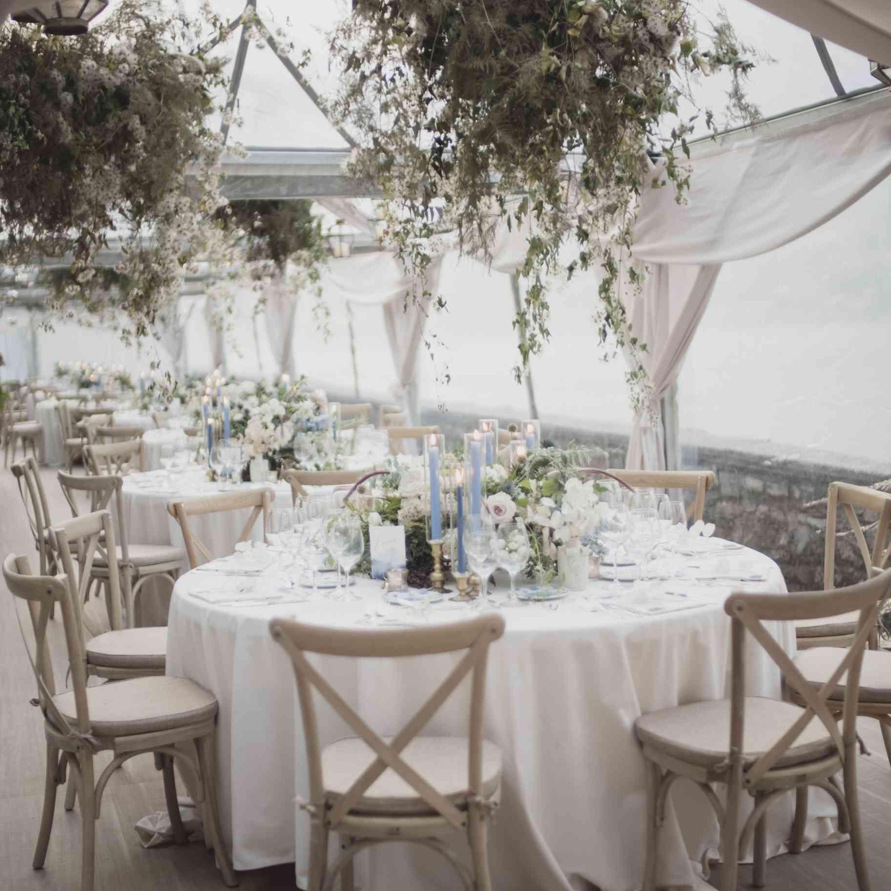 romantic lake como wedding, neutral reception seating