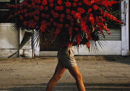 Man walking down street carrying large bouquet of red flowers