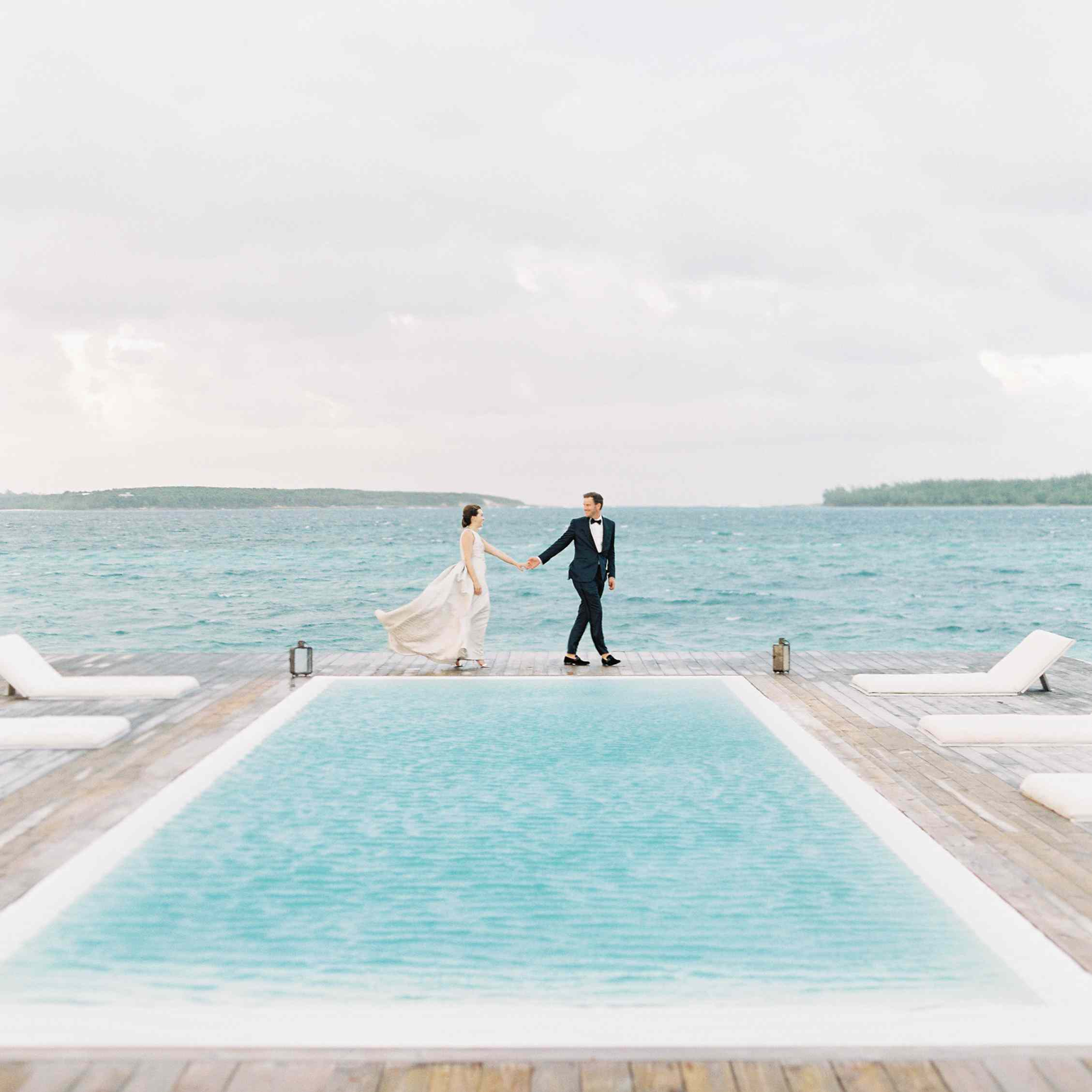<p>bride and groom poolside</p><br><br>