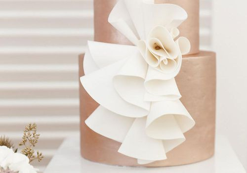 Rose Gold Wedding Cake with White Ruffles
