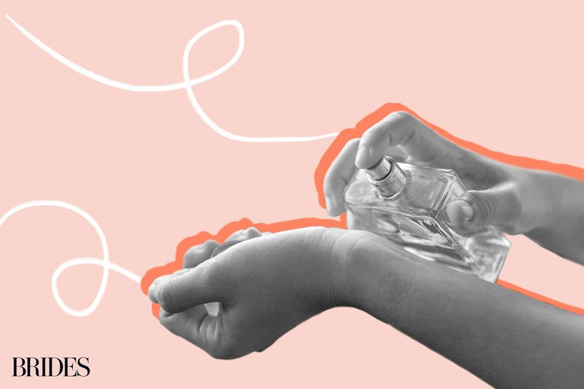 Photo composite of hands spraying perfume onto a wrist over a pink background.