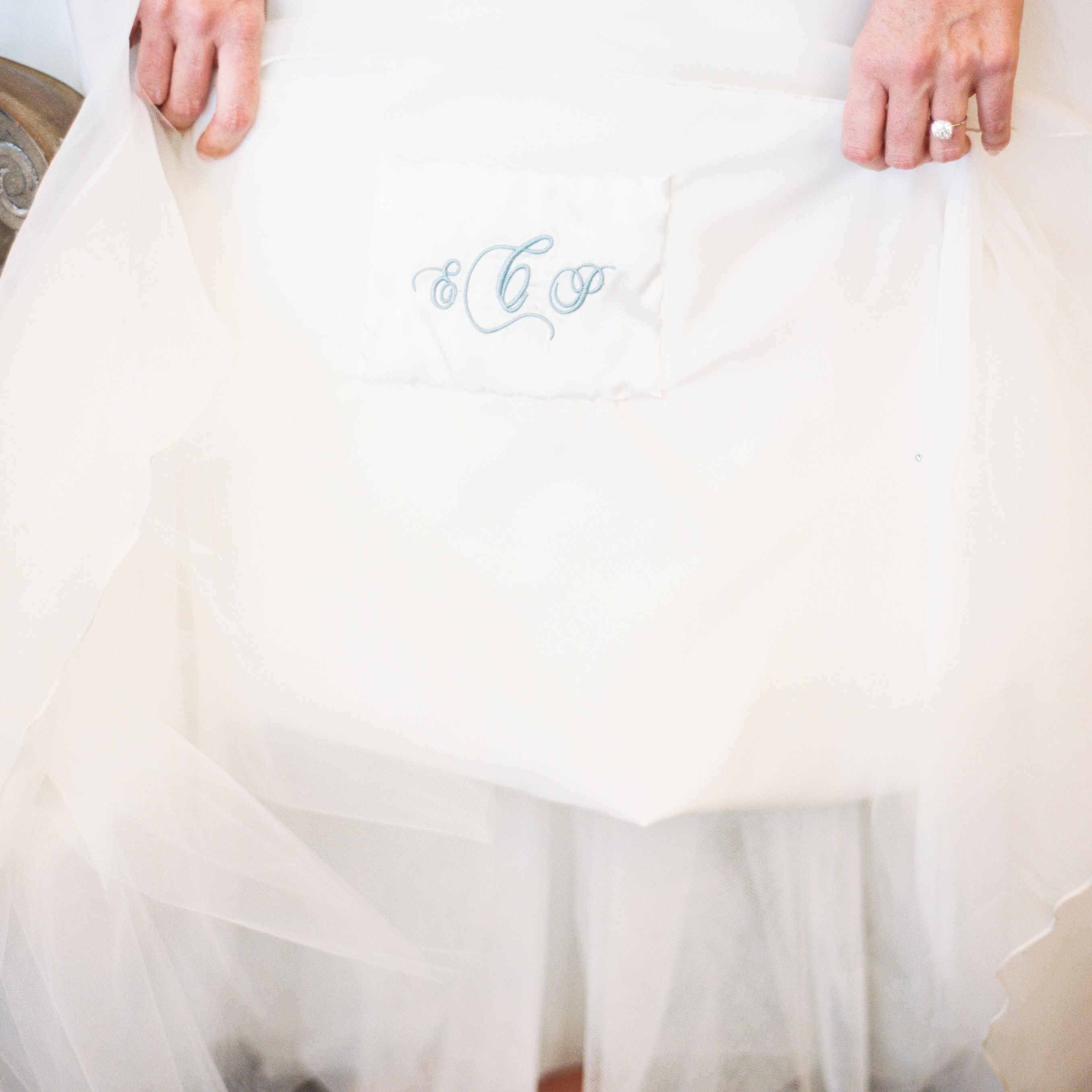 Bride holding monogram