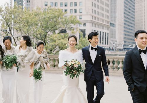<p>bride and groom with wedding party</p>