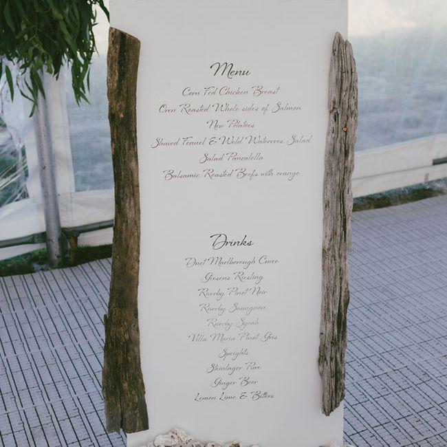 Beach Driftwood Wedding Menu