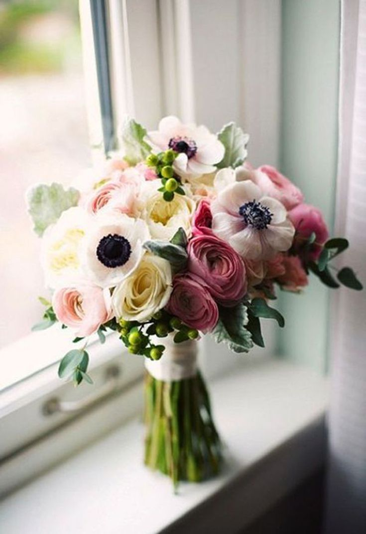 In Season Now Pretty Wedding Bouquets With Anemones