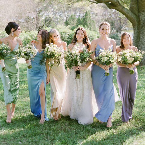 bridesmaids in slip dress