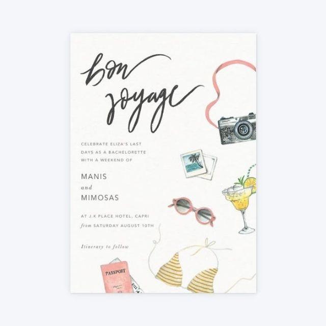Papier Bon Voyage Bachelorette Party Invitation