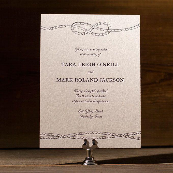 Simple nautical letterpress wedding invitation
