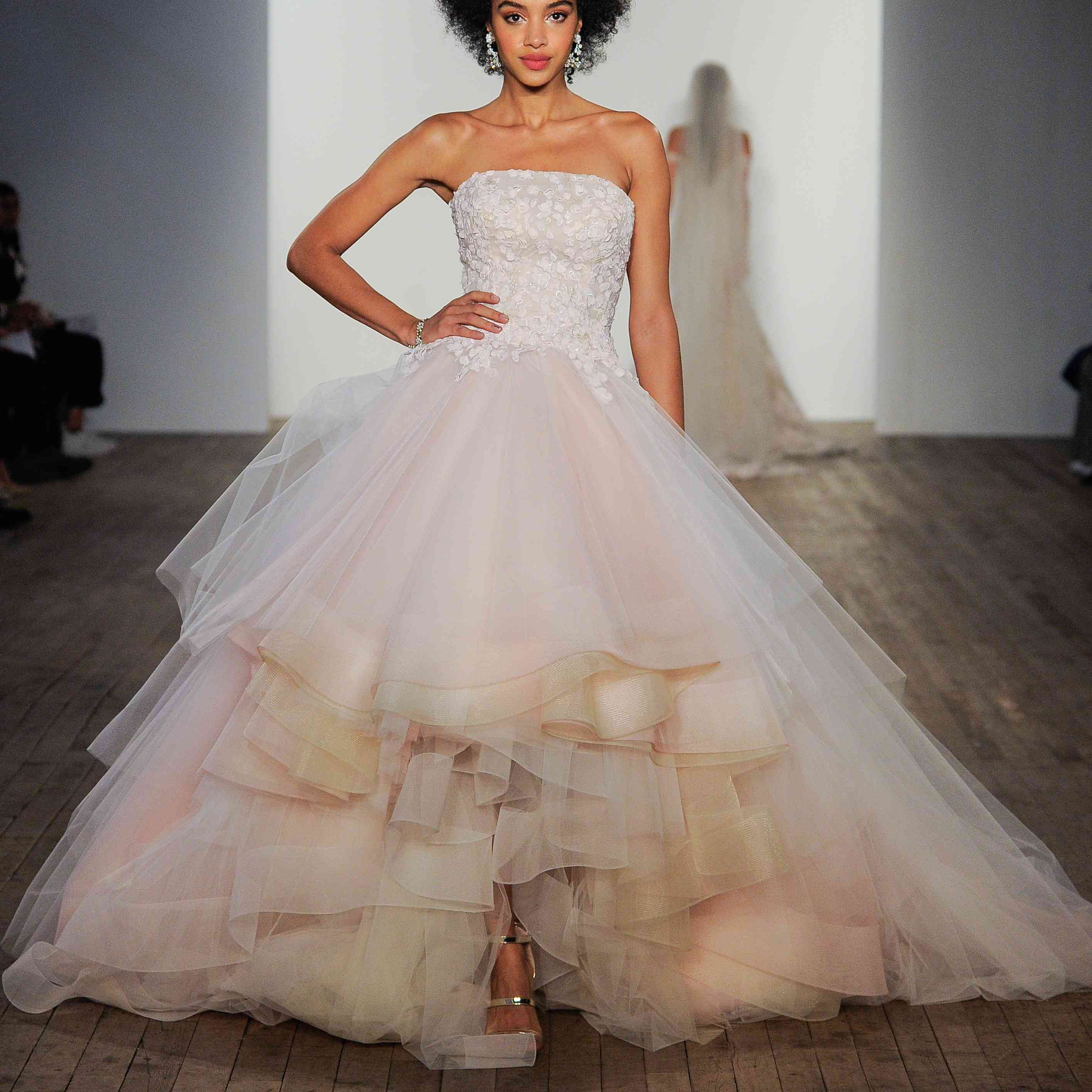 Grace strapless high-low wedding gown