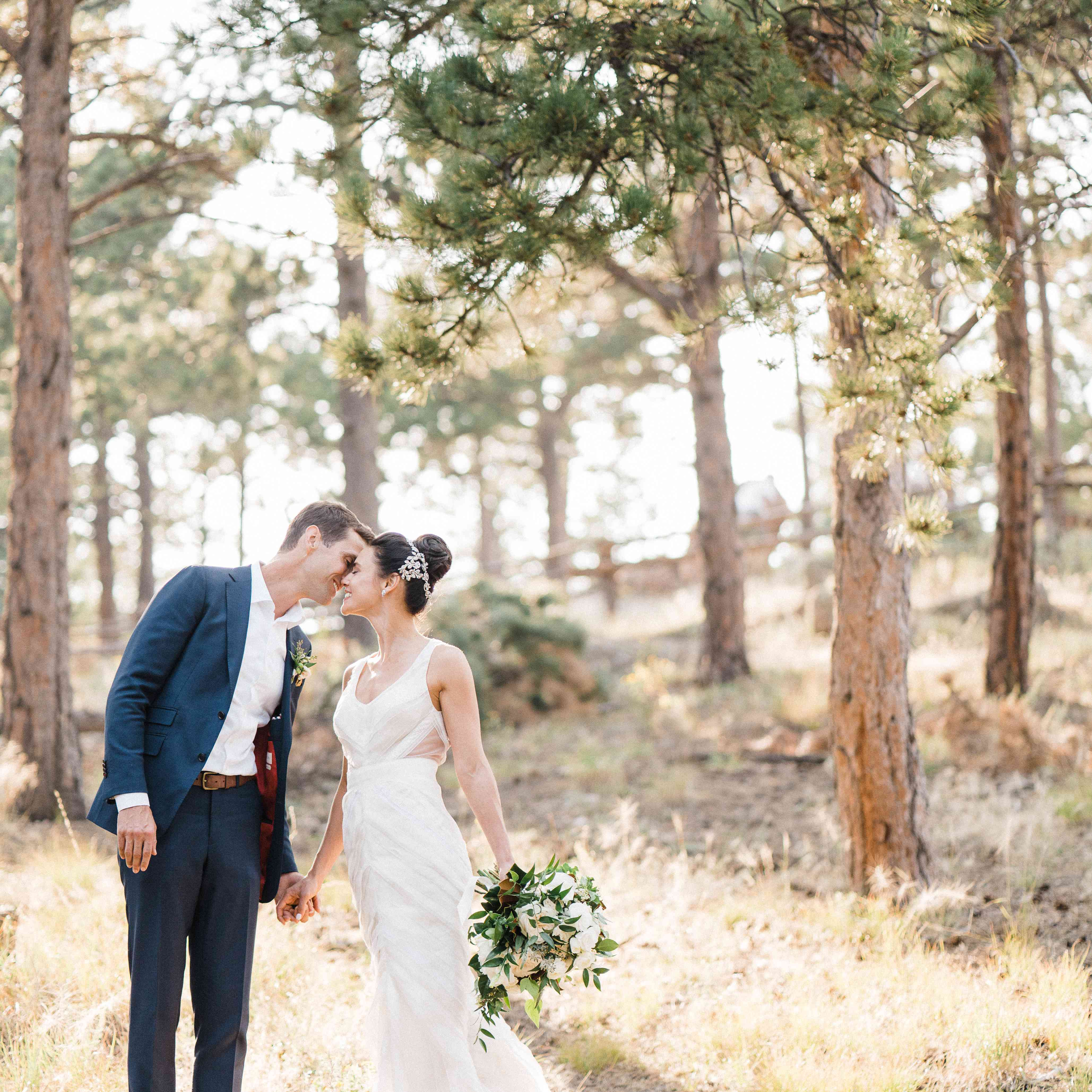 <p>Bride and groom in forest</p><br><br>
