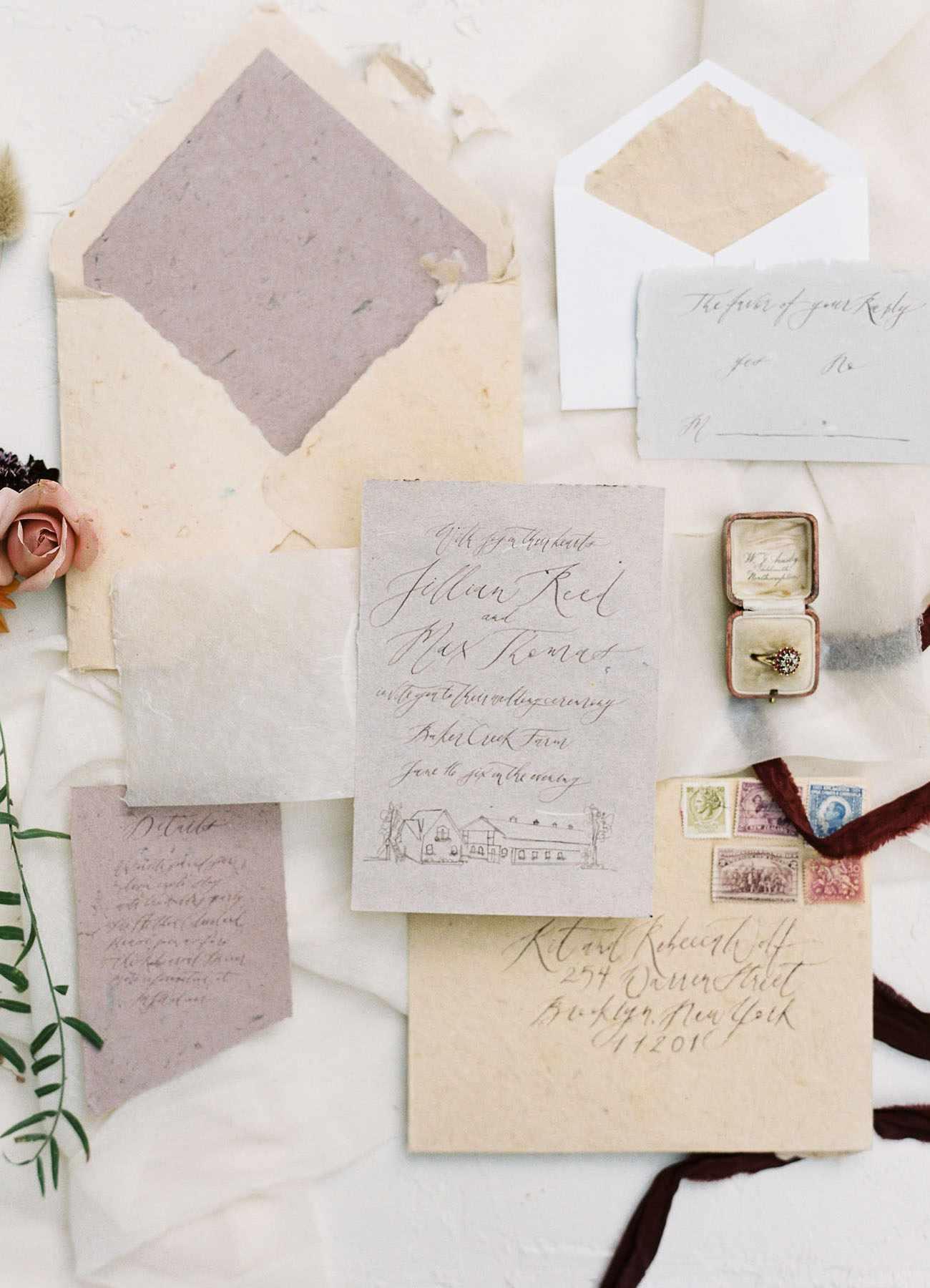 Wedding invitations with calligraphy.