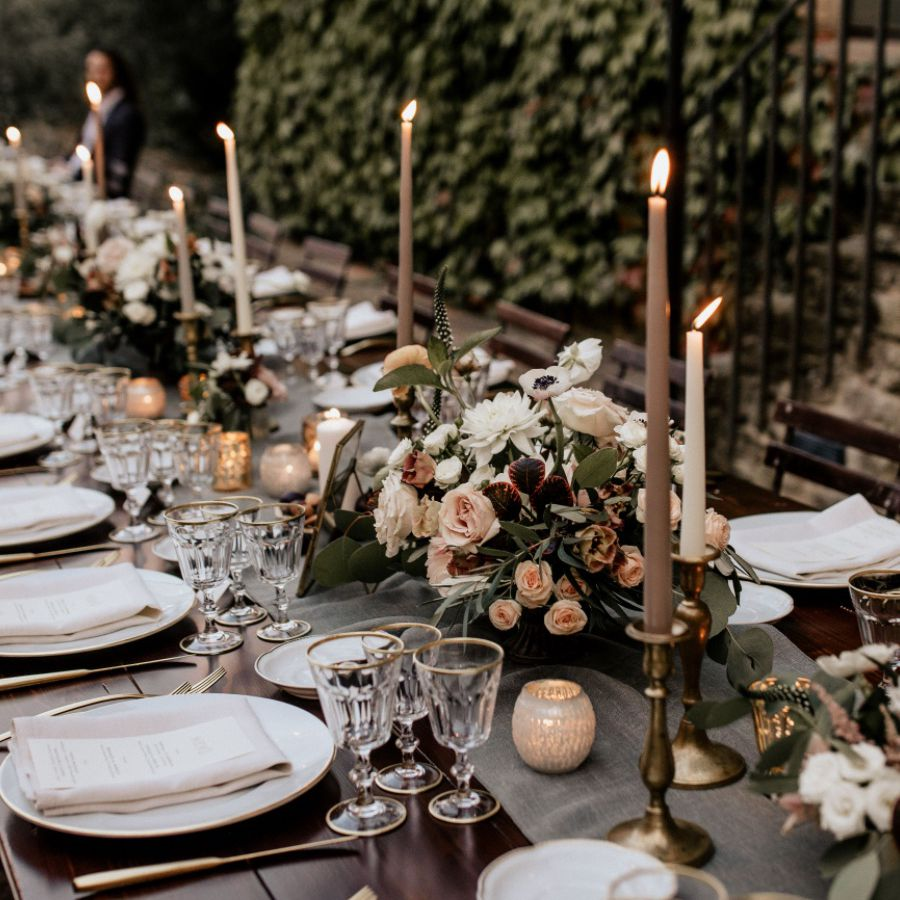 Gray candles on tablescape