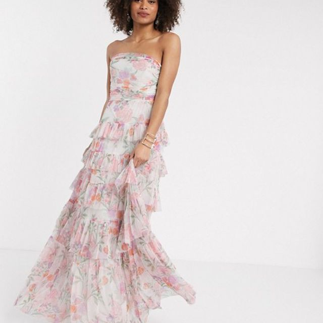 Anaya With Love Tulle Bandeau Tiered Maxi Dress, $214.00, on sale $160.50