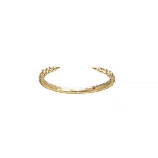 Wwake Yellow Gold Micropavé Open Slice Ring