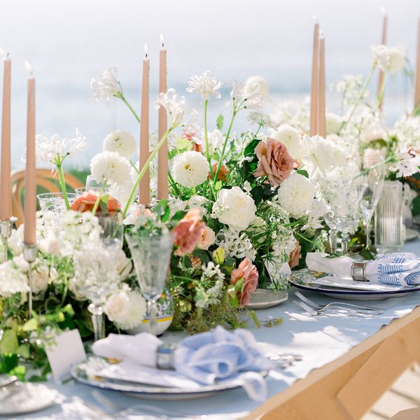 floral tablescape with pink candles