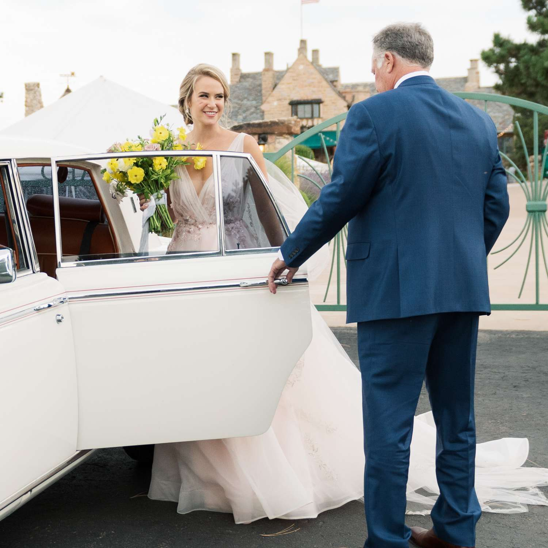 vintage limo wedding transportation