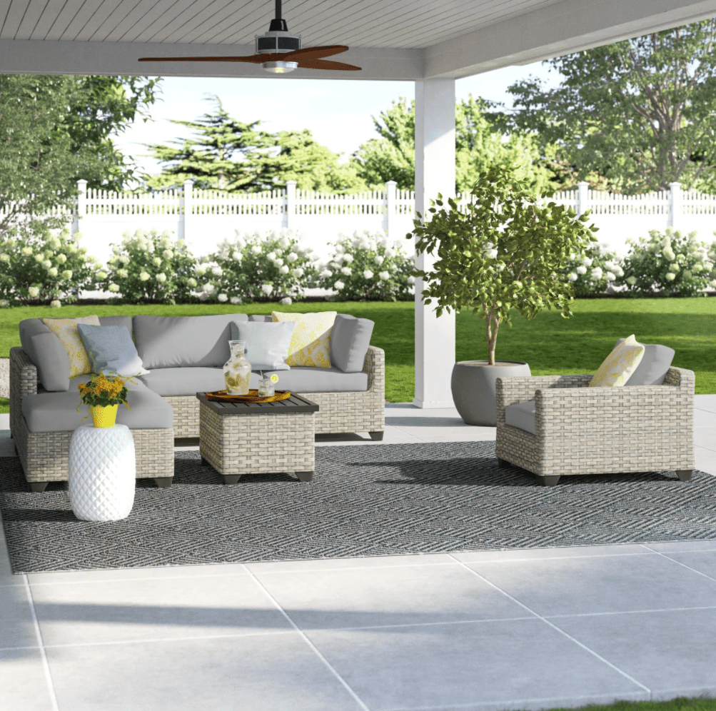 Sol 72 Outdoor Rochford 7 Piece Sectional Seating Group with Cushions