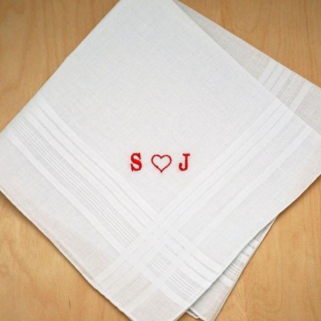 Bumblebee Linens Men's Monogrammed Heart Handkerchief