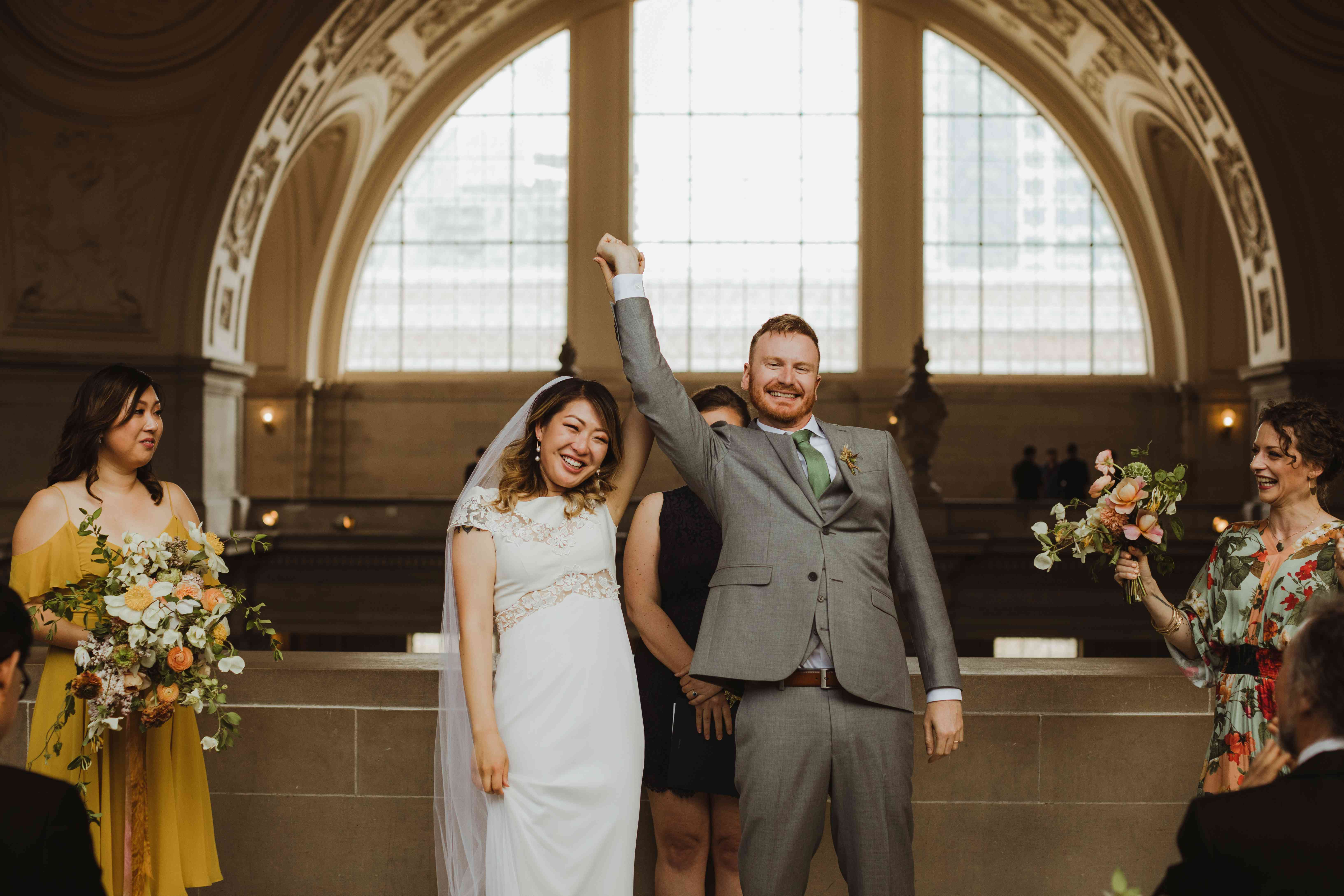 <p>Bride and groom after ceremony</p><br><br>