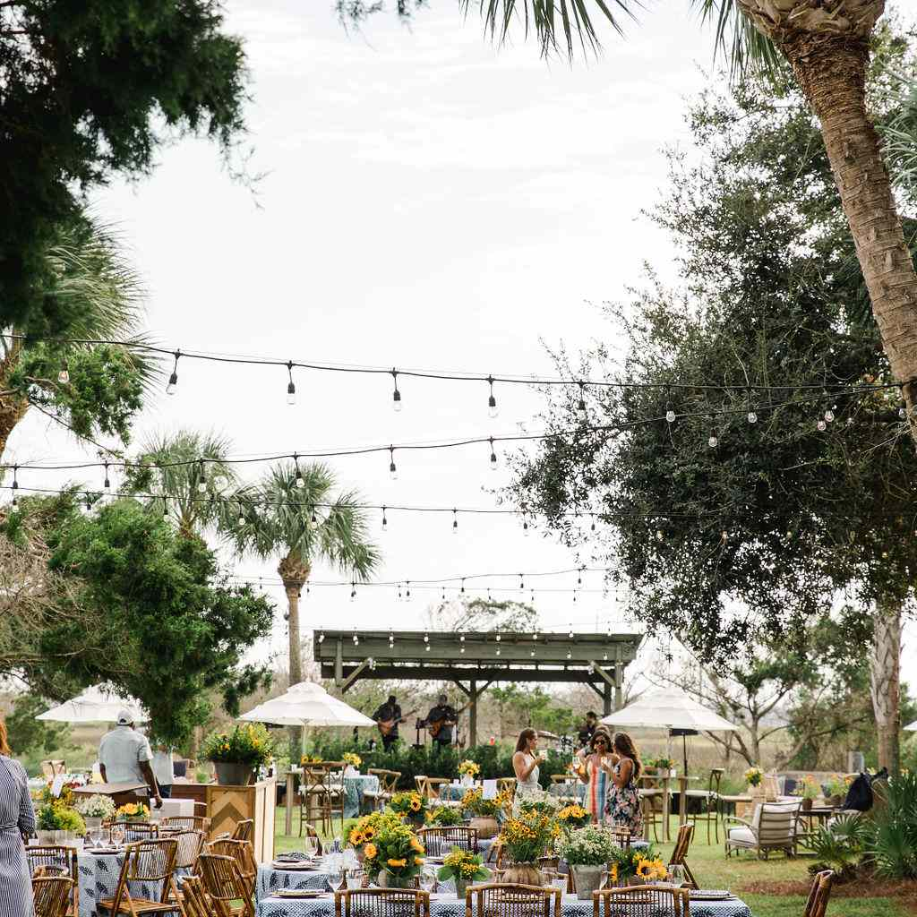 timeless southern wedding, outdoor rehearsal dinner seating