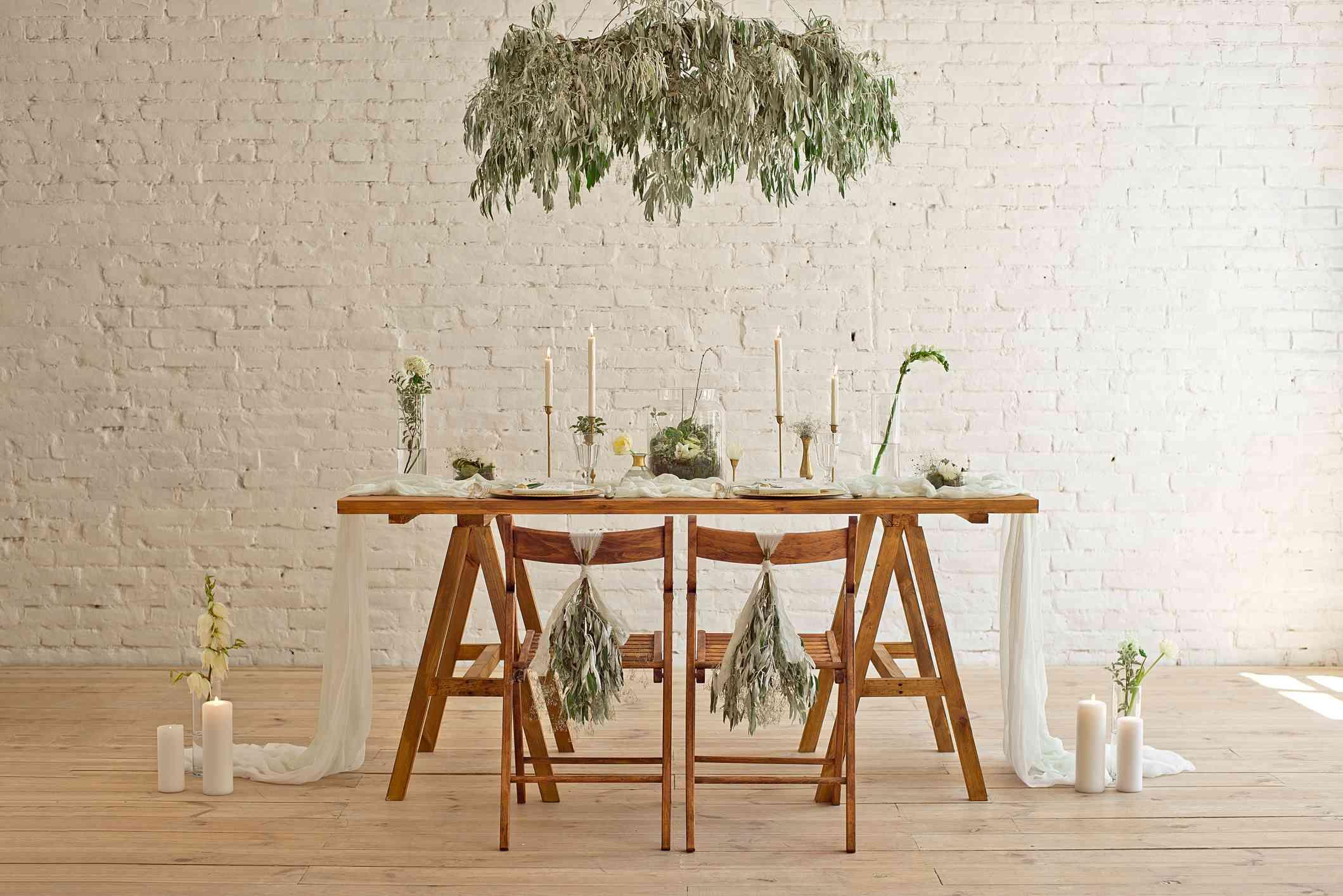 Boho minimalist wooden sweetheart table