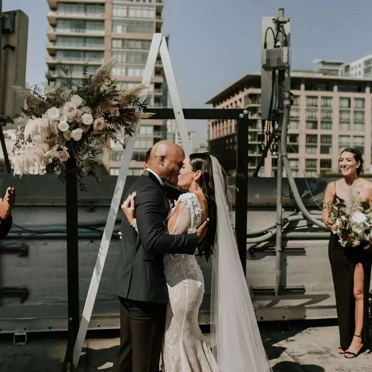 black and white wedding arch