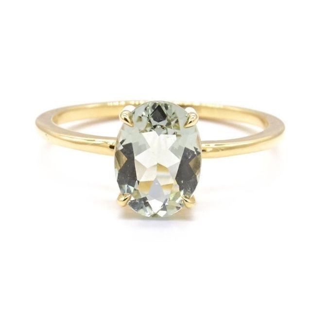 Natalie Marie Precious Oval Green Amethyst Ring