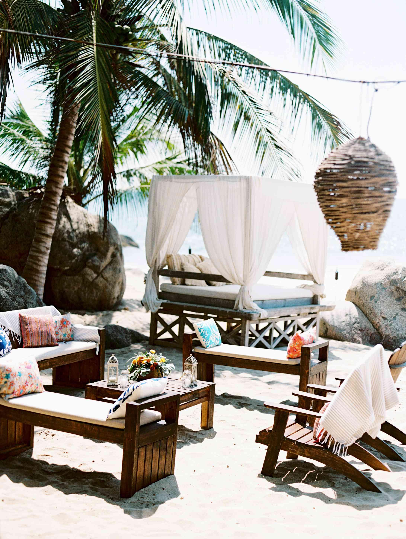 Beachside cabana setup