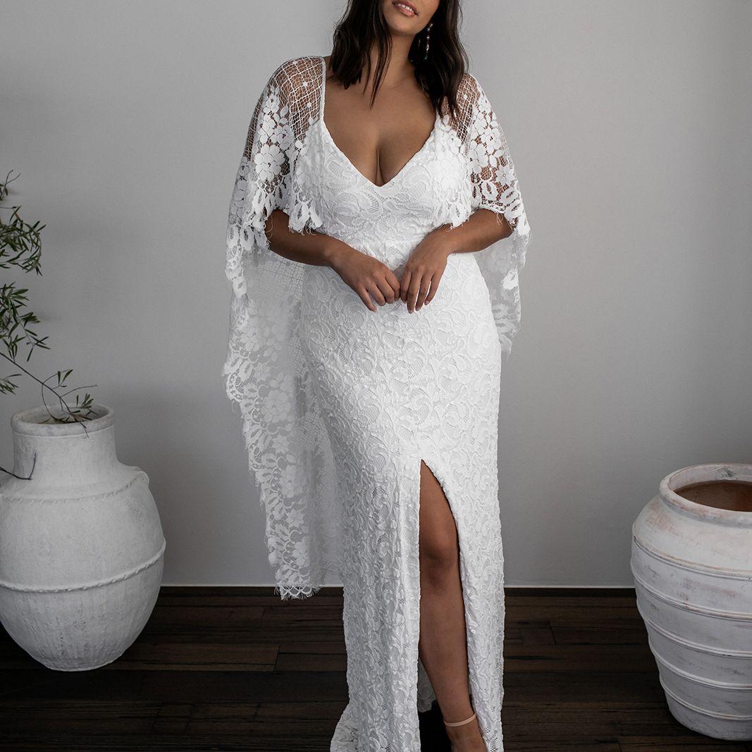 Verdelle dramatic sleeve wedding dress