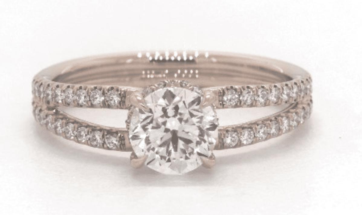 James Allen 14K Rose Gold Split Shank Ribbon Engagement Ring