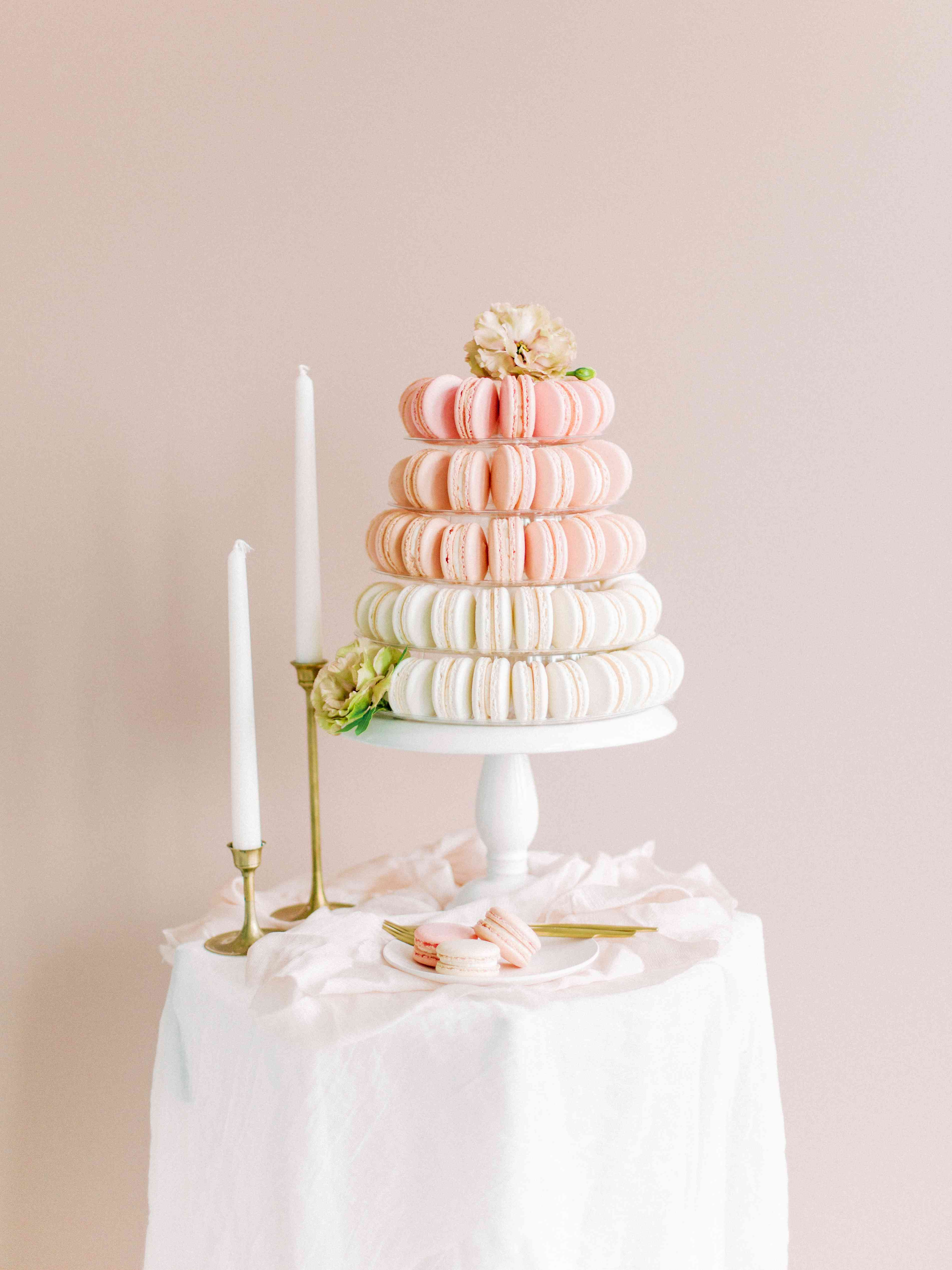 Pink and white macaron tower