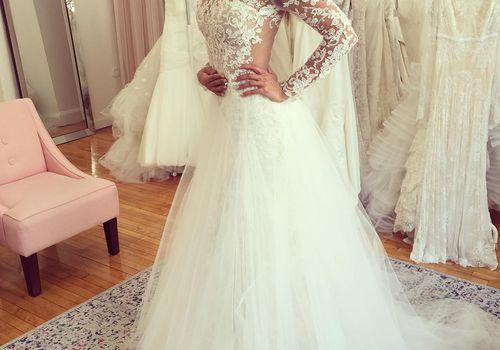 Bride in Wedding Dress at Bridal Boutique