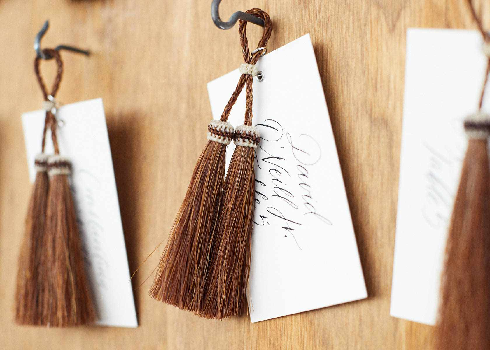 Name tag escort card and tassel keychain favor