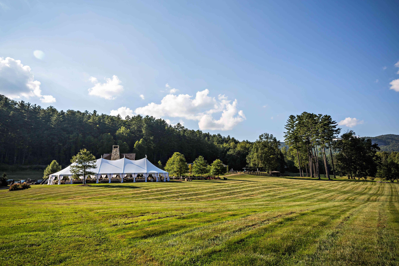 Reception tent in field