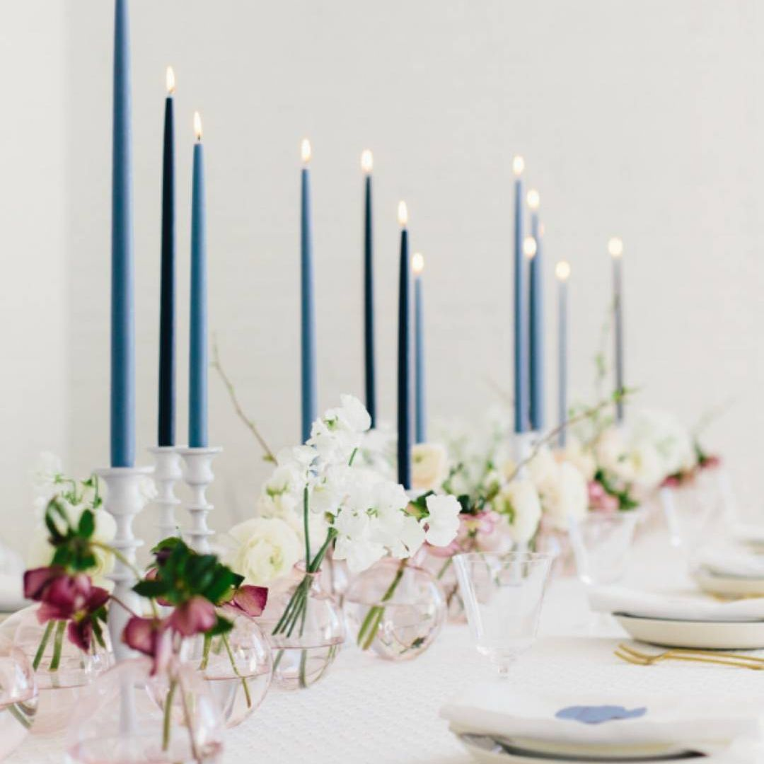 Shades of blue candles on tablescape