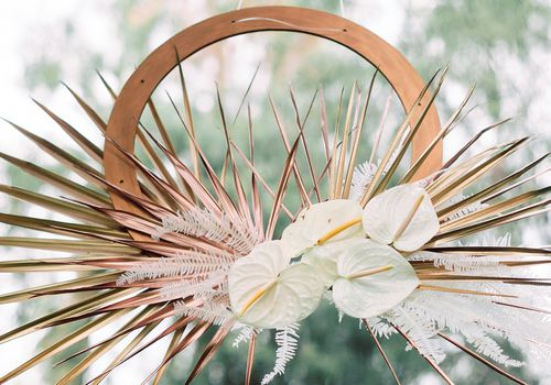 floral and dried palm hanging display