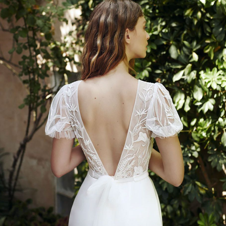 gown with lace top and bow