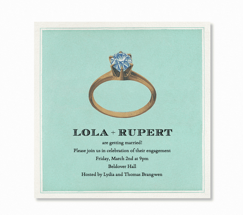Turquoise engagement party invitation with handpainted ring