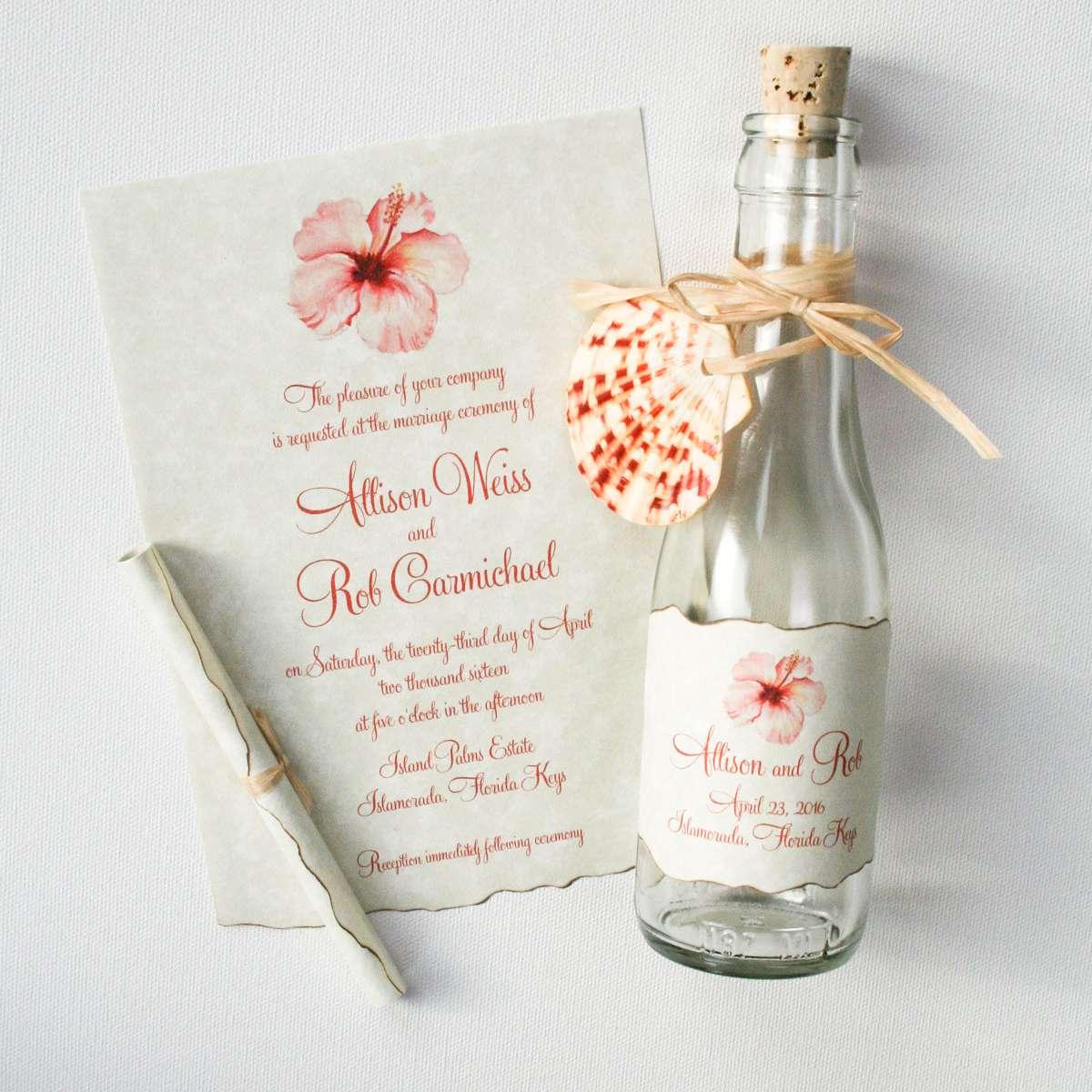 Pink Hawaiian flower wedding invitation