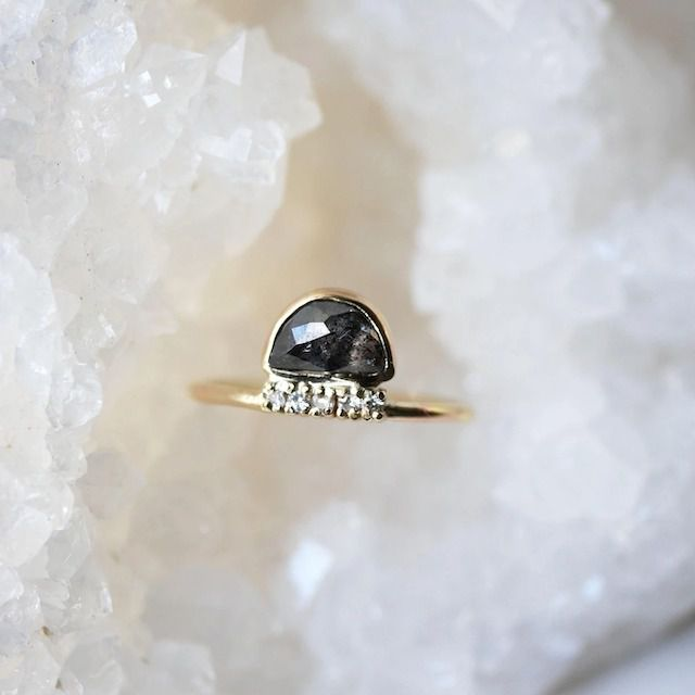 Emily Warden Designs Studded Halfmoon Diamond Ring