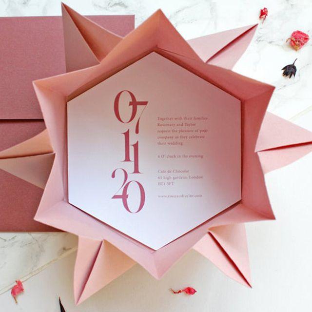 Jay Monique Creative Elegant Wedding Invitation Set Printed Origami Invitation
