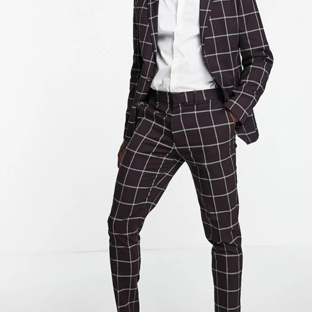 checkered burgundy suit