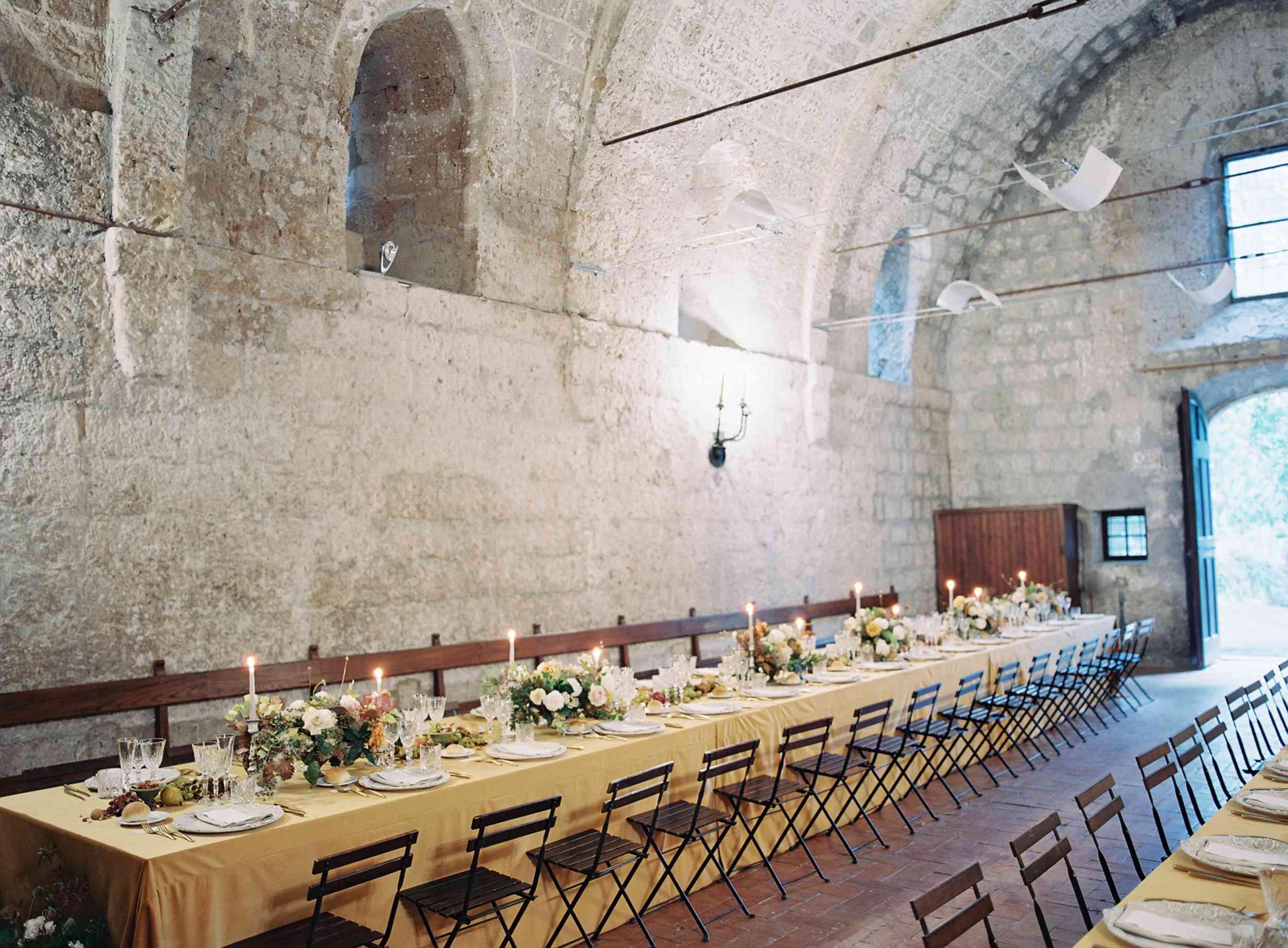 classic la badia italian wedding, romantic ceremony tables