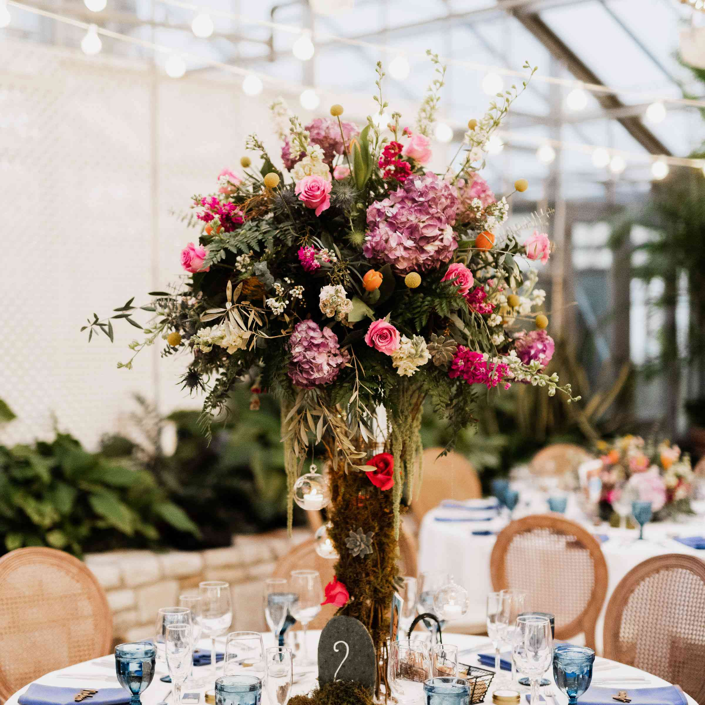 tree and floral centerpiece