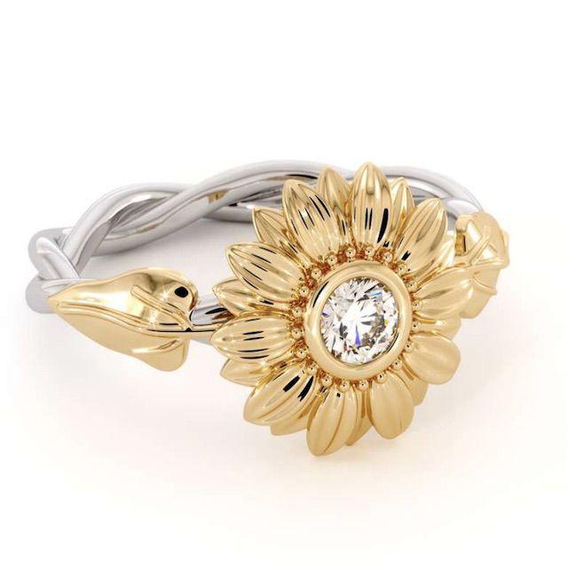 Camellia Unique Engagement Ring Natural Diamond 14 Karat Gold Ring Sunflower Engagement Ring