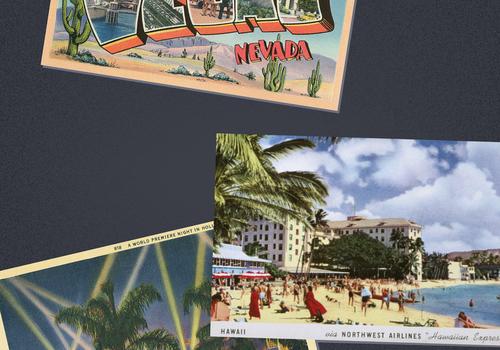 postcard graphic of destinations
