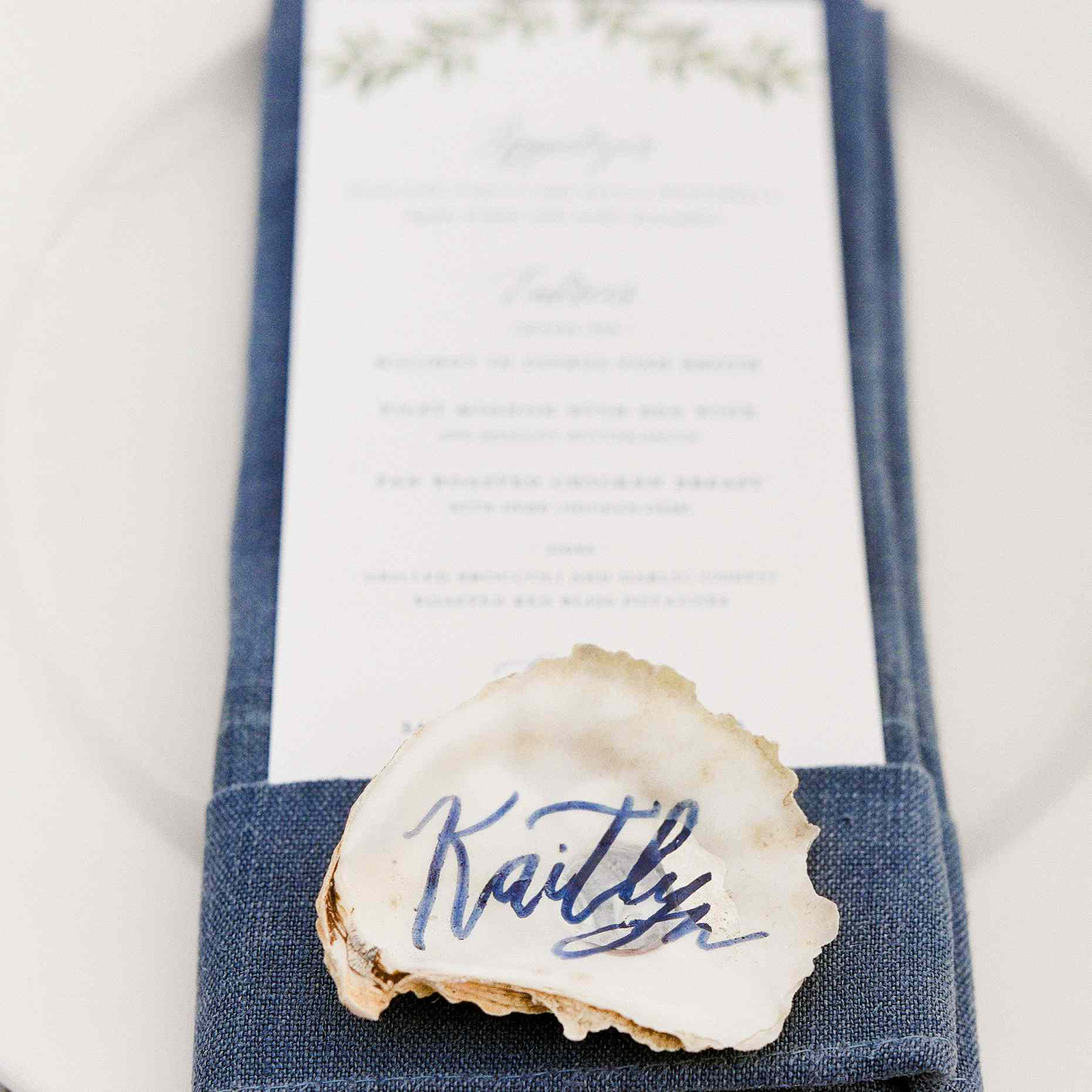 <p>oyster shell name cards</p><br><br>